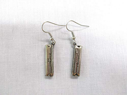 Solid 3D Music HOHNER Harmonica Dangling Charms Musical Fashion Earrings Jewelry KEZ-491