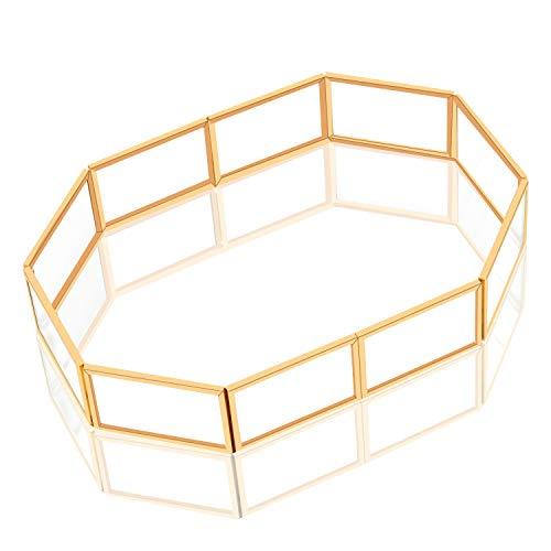 Vanity Bathroom Ornate - QILICHZ Mirrored Tray, Metal Decorative Tray Jewelry Dresser Tray Trinket Gold-Plated Glass FruitTray Makeup Organizer for Vanity Ornate Jewelry Perfume Bathroom Display Hotel Serving