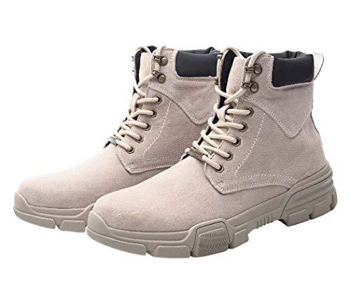 Mens Martin Boots Autunno Inverno Punta Rotonda Lace Up Warm Stivali Da Combattimento Tendenza Britannica,Beige,42EU
