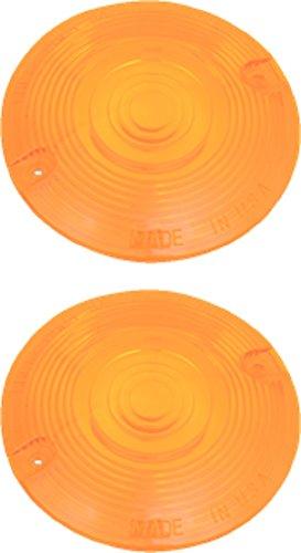 Orange Cycle Parts Pair Amber Turn Signal Blinker Lens for Harley Tour Glide FLT / Electra Glide FLHT 86-18 Heritage Softail FLST 86-17 Sport Glide FXRT / Grand Touring FXRD 86-98 repl. # 68440-86 ()