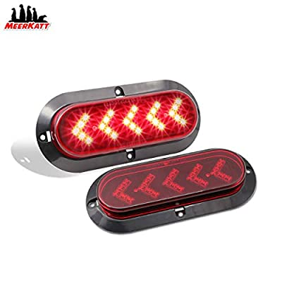 Meerkatt (Pack of 2) 6 Inch Arrow Red LED High Power Oval Side Marker Clearance Lamp Sealed Surface Mount Brake up Warn Lights for Truck Trailer Pickup RV Boat Lorry Universal 12V DC Waterproof 25LED: Automotive