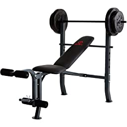 80 lb Exercise Weight Bench, steel tube frame, Leg developer, steel weight set