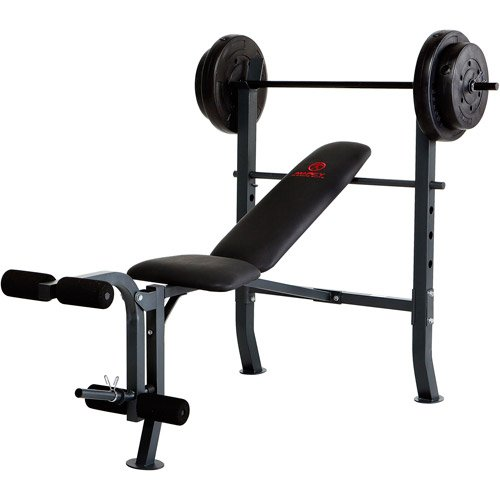 80 lb Exercise Weight Bench, steel tube frame, Leg developer, steel weight set by Marcy