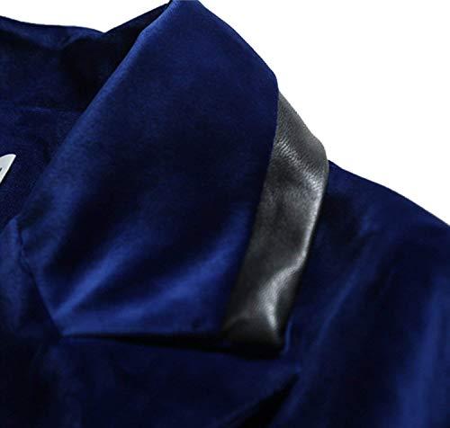 Abbottonatura Fit A Uomo Con Aderente In V Chic Giacca Da Manica Cotone Elegante Lunga Scollo Blu Slim wIYY8Oxq