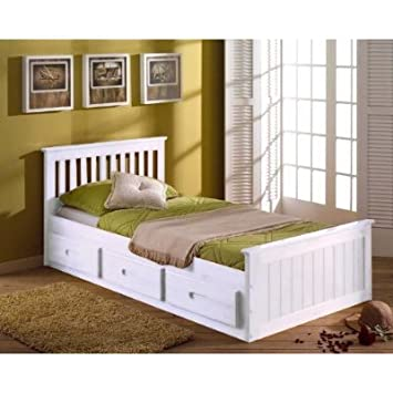 3ft Single Pine Kids Childrens Captain Cabin Storage Bed In A White