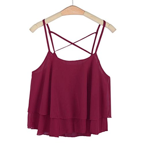 Pleated Crossover (YANG-YI Sexy Fashion Women Irregular Summer Strap Floral Print Chiffon Shirt Casual Camisole Vest (Red Wine))