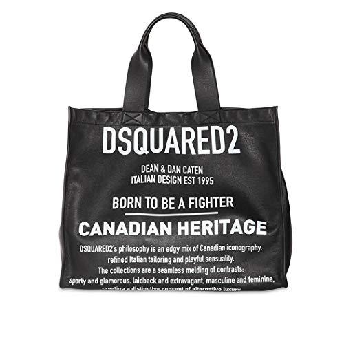Women's Accessories Dsquared2 Black White Leather Tote Bag FW 19-20