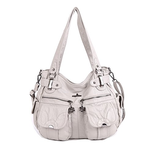 Angelkiss Two Top Zippers Multi Pockets Handbags Washed Leather Purses Shoulder Bags 5739/1 (grey)