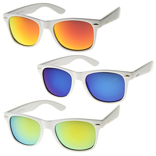 zeroUV - Hipster Fashion Flash Color Mirror Lens Horn Rimmed Style Sunglasses (3-Pack | - Sunglasses Wayfarer White