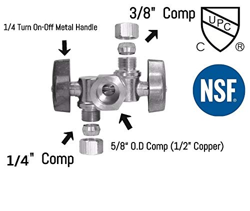 """5/8"""" OD Comp X 3/8"""" Comp X 1/4"""" Comp Double Handles 1/4 Turn Angle Stop Water Shut off Valve Lead-Free (1)"""