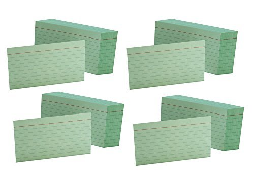 4 Pack of 100 Oxford Ruled Green 3 x 5 Inches Index Cards bundled by Maven Gifts by ESSENDANT