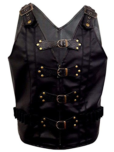 Mens Real Black Leather Heavy Duty Steampunk Gothic Style Vest Waistcoat