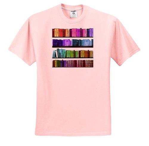 InspirationzStore Rainbows - Colorful bookshelf books - Rainbow bookshelves - reading book geek library nerd - librarian author - T-Shirts - Adult Light-Pink-T-Shirt 2XL