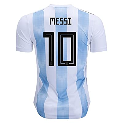 Messi 10 Argentina National soccer team home jersey men's 2018 color white/blue Size M