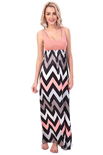Kranda® Women Sleeveless Striped Long Full Length Summer Beach Dress(FBA)