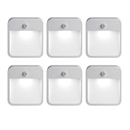 (Mr Beams MB726 Stick Anywhere Battery-Powered Wireless Motion Sensor LED Night Light, White, Set of 6)
