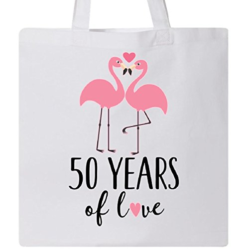 Inktastic 50th Anniversary Gift Flamingo Couple Tote Bag White by inktastic