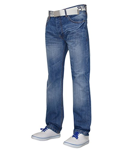 rígida pantalones corte sin para funda para cinturón Jeans recto New Ligero hombre Lavado Denim amp; Regular Jones Smith HntqxO