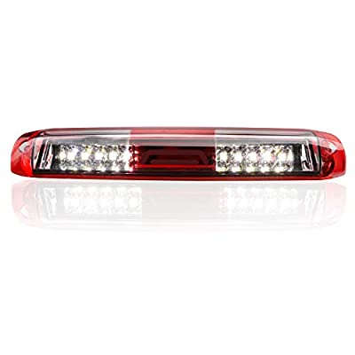 for 99-07 Chevrolet (Chevy) Silverado GMC Sierra 1500 2500 3500 HD Classic, LED Third 3rd Brake Light Rear Cargo Lamp High Mount Stop light Chrome Housing (Red): Automotive