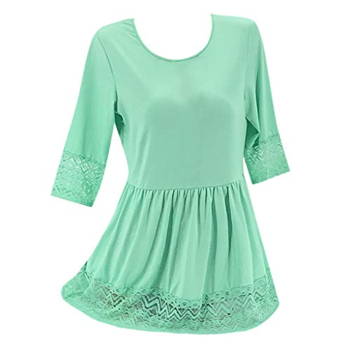 Xinantime Women Plus Size Half Sleeve Dress Ladies Loose Fit Casual Lace Patchwork A Line Midi Dress Green