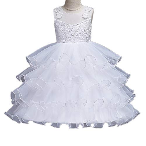 Super frist Girls Prom Ball Gown Kids Puffy Ball Gowns Multi-Layer Dresses Girls Pageant Formal Dress(White/140cm(8-9 Years)) -