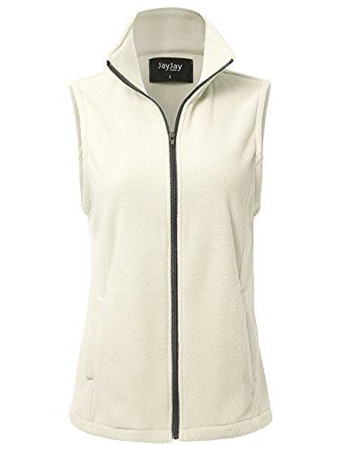 JayJay Women Ultra Soft Breathable Full-Zip Fleece Vest Jacket,Beige,L (Vest Fleece Soft)