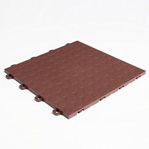 (Brown Block Tile B0US5230 Garage Flooring Interlocking Tiles Coin Pattern)