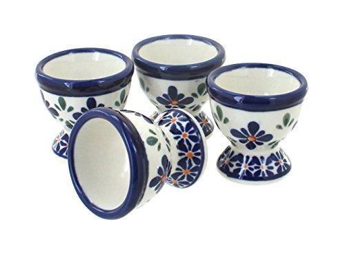Blue Rose Polish Pottery Mosaic Flower Egg Cup Set