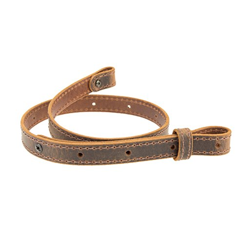 Nohma Leather Buffalo Hide Leather Rifle Gun Sling, Crazy Horse / Brown Stitch, Amish Handmade 1