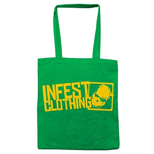Infest Clothing, Borsa tote donna Verde/giallo