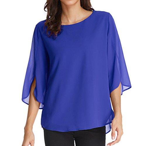 GRACE KARIN Casual Scoop Neck Half Ruffle Sleeve Chiffon Blouse for Women Size M Blue