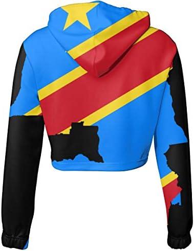 地図の旗クロップドパーカー女性の2019ファッション長袖パッチワーククロップトップスウェットシャツスポーツジムオフィススクール
