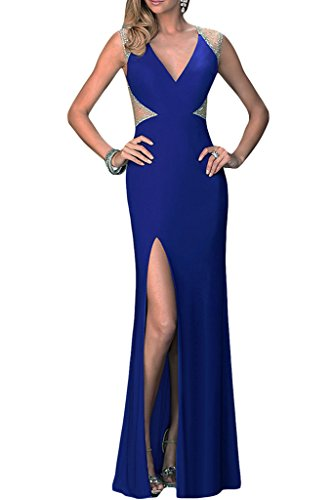 de vestido Real noche Mujer fijo Azul para de brillantes sexuell V Ranura Fiesta ivyd Vestido recorte ressing x7UU1qI