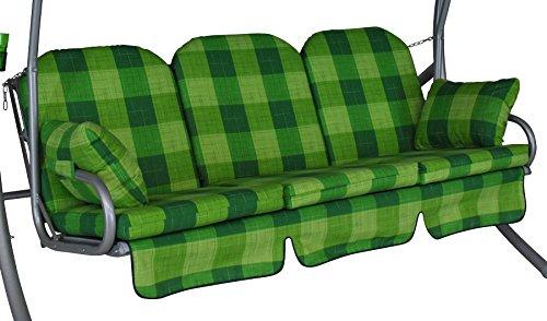 Angerer 1018 143 Deluxe-Schaukelauflage, 3-Sitzer Design Dublin, grün
