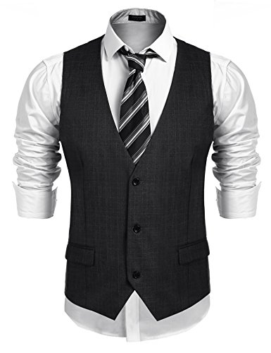 COOFANDY Men's Business Suit Vest,Slim Fit Skinny Wedding Waistcoat, Dark Gray, XX-Large by COOFANDY