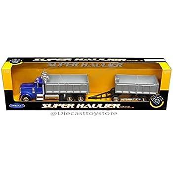 NewRay 1:32 PETERBILT MODEL 379 DOUBLE DUMP TRUCK /& TRAILER YELLOW  SS-10573A