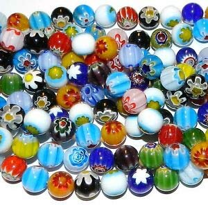 Millefiori Glass Beaded Bracelet - Steven_store G1813L2 Assorted Mix Color Single Flower 12mm Round Millefiori Glass Beads 14