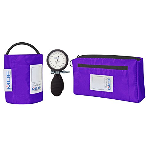 MDF® Bravata Palm Aneroid Sphygmomanometer - Professional Blood Pressure Monitor with Adult Sized Cuff Included - Purple (MDF848XPD-08) by MDF Instruments