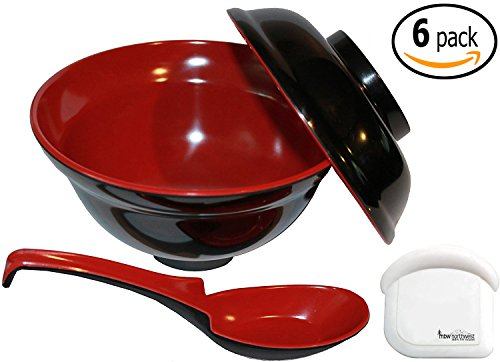 Japanese Rice / Soup Bowl Set with Lid, Spoon with Pan Scraper, 16 Ounce, Melamine, Red and Black, Set of 6
