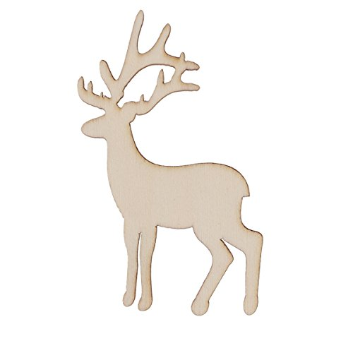 Tinksky 15pcs Christmas Reindeer Ornaments Blank Wood Gift Tags Crafts Wood Slices