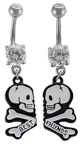 Pair of Best Friends Belly Button Ring-Skull & Crossbones-Jeweled Dangle-Navel Body Jewelry (Jeweled Skull And Crossbones)