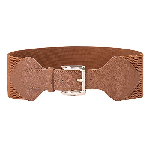High Stretchy Leather Waist Belt for Dress Skirt Jeans Brown Size M CL998-5 ()