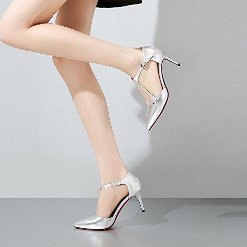 Mode Silver Femmes de Creux Stylet Mariage Rouge pour Boucle en Strass Chaussures Boucles Talons Robes Cuir Pointe DKFJKI de xw14PqUU