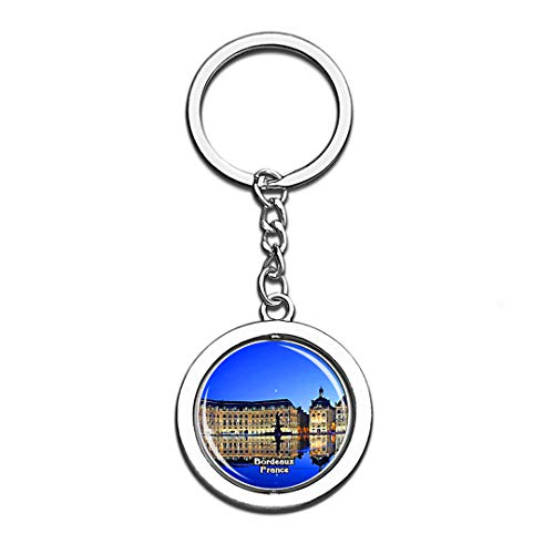 Bordeaux Water Mirror France 3D Crystal Creative Keychain Spinning Round Stainless Steel Key Chain Ring Travel City Souvenir Collection