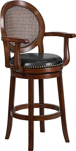 """StarSun Depot 30"""" High Expresso Wood Barstool with Arms, Woven Rattan Back and Black Leather Swivel Seat 22.75"""" W x 23.5"""" D x 48.25"""" H"""