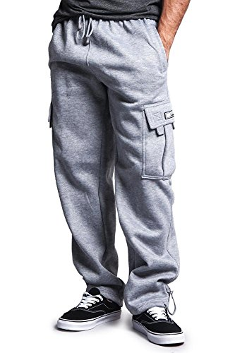 G-Style USA Men's Solid Fleece Cargo Pants DFP2 - Grey - 2X-Large by G-Style USA