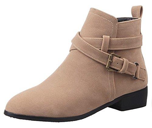 (Summerwhisper Women's Stylish Faux Suede Buckled Cross Strap Pointed Toe Block Low Heel Side Zipper Ankle Booties Camel 4.5 B(M) US)