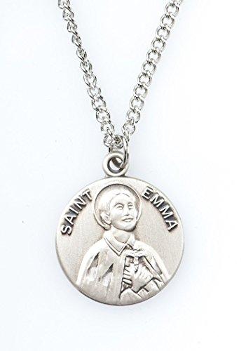 Pewter Saint St Emma Dime Size Medal Pendant, 3/4 Inch ()