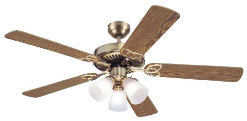 Westinghouse 7804265 Vintage 52 Inch Ceiling Fan, Antique Brass Finish