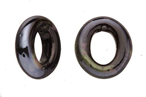 15pcs Moss Agate Porcelain Slider Beads for Licorice Leather - O Style Glaze finish -